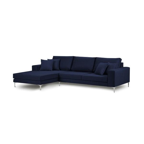 Modrá rohová čtyřmístná pohovka Cosmopolitan Design Cartegena, levý roh