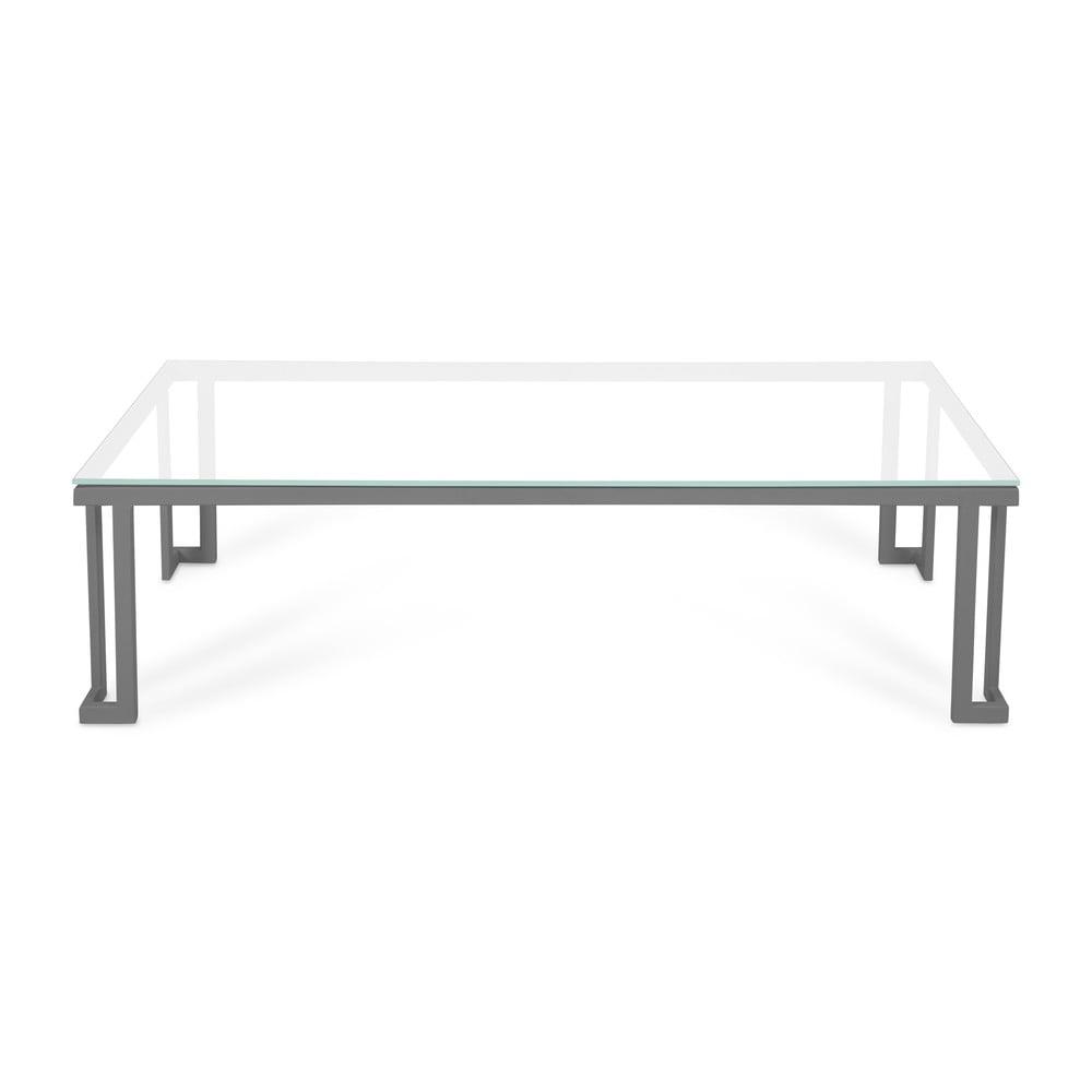 Bílý skleněný venkovní stůl v šedém rámu Calme Jardin Cannes, 60 x 150 cm