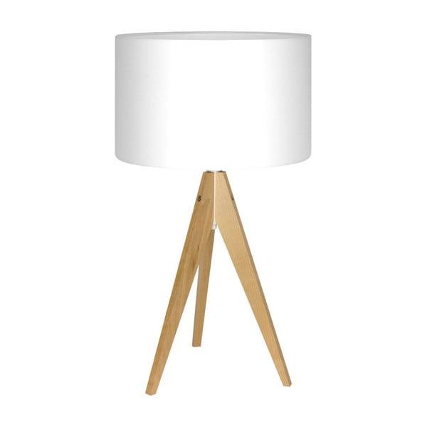 Bílá stolní lampa Artist, bříza, Ø 33 cm