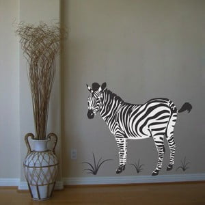 Samolepka Zebra na bílém pozadí, 90x76 cm