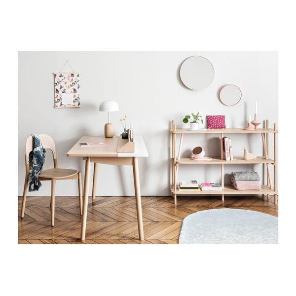 Knihovna z dubového dřeva s růžovými detaily HARTÔ Simone, 120 x 92 cm