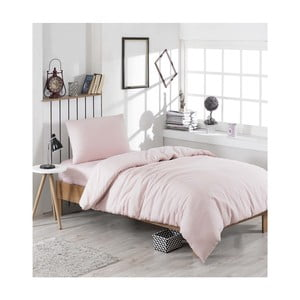 Povlečení s prostěradlem na jednolůžko Cute Pink, 160x220cm