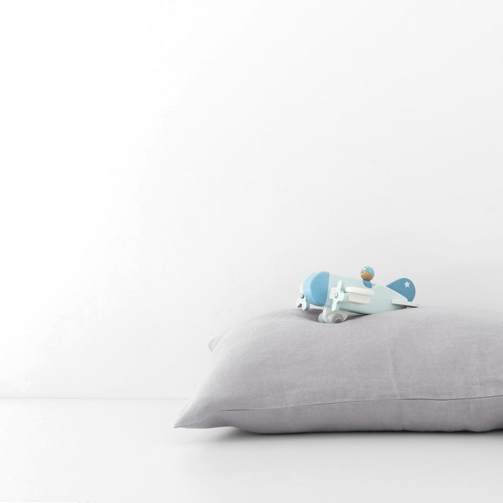 Dětský šedý lněný povlak na polštář Linen Tales Nature, 40 x 45 cm