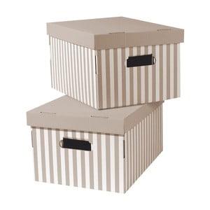 Sada 2 béžových úložných krabic Compactor Stripes