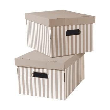 Set 2 cutii pentru depozitare Compactor Stripes, bej de la Compactor