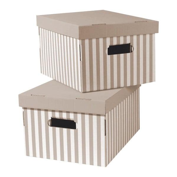 Set 2 cutii pentru depozitare Compactor Stripes, bej