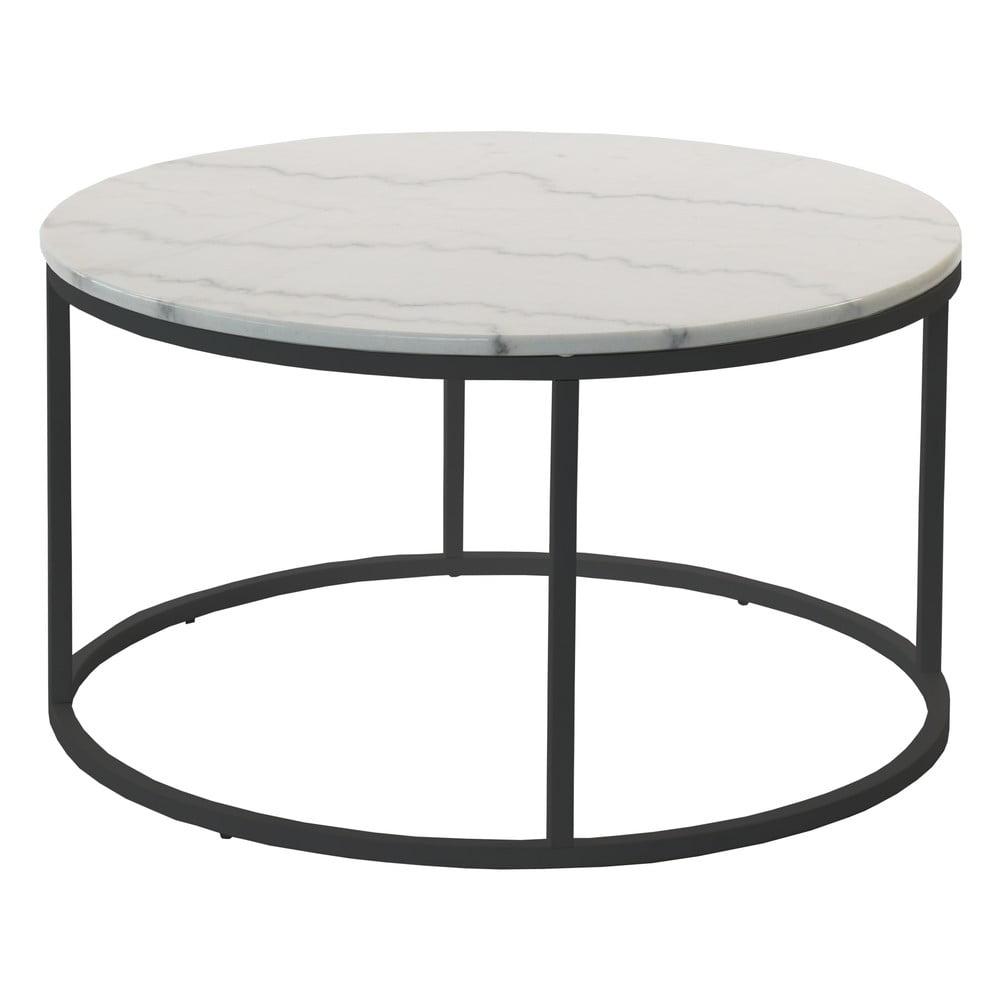 Mramorový odkládací stolek s černou konstrukcí RGE Accent, ⌀85cm