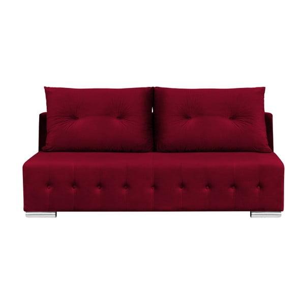 Robert sötétvörös háromszemélyes kinyitható kanapé ágyneműtartóval - Melart