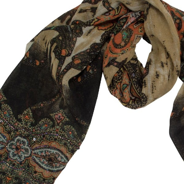 Vlněný šátek Shirin Sehan - Estelle Cognac
