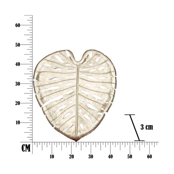 Bol decorativ Mauro Ferretti Monstera Leaf, 42,5 x 47,5 cm, auriu