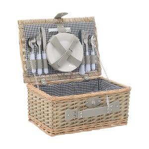 Šedý piknikový koš z vrbového proutí s nádobím InArt, 40 x 28 cm