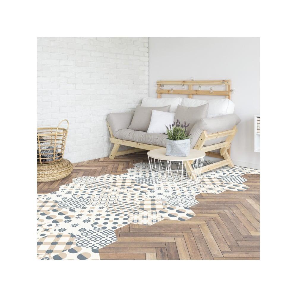 Sada 10 samolepek na podlahu Ambiance Hexagons Gotzone, 20 x 18 cm