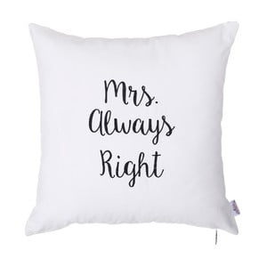 Față de pernă cu broderie Apolena Mrs Always Right, 41 x 41 cm, alb