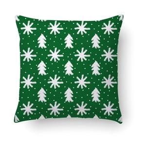 Zelený polštář Crido Consulting Snowing, 40 x 40 cm