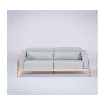 Canapea cu structură din lemn de stejar Gazzda Fawn, 210 cm, albastru - gri