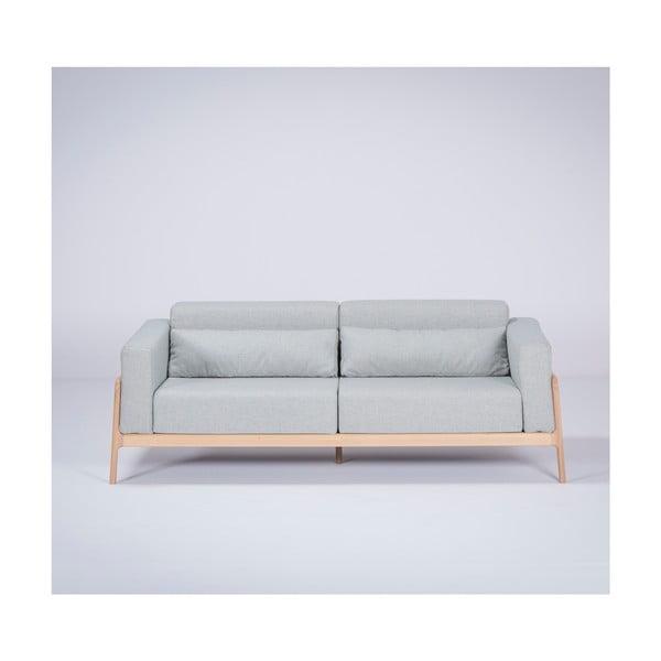Niebieskoszara sofa z konstrukcją z litego drewna dębowego Gazzda Fawn, 210 cm