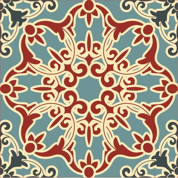 Samolepky Tile Art Turqouise Ornament