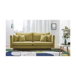 Canapea extensibilă cu 3 locuri Bobochic Paris Triplo, galben