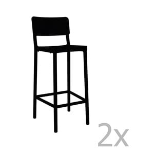 Sada 2 černých barových židlí vhodných do exteriéru Resol Lisboa, výška 102,2 cm