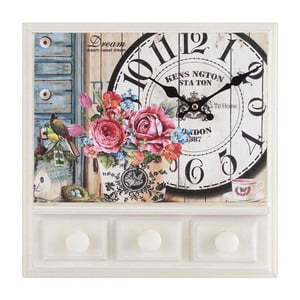 Dřevěné nástěnné hodiny Flowers s háčky, 32x32 cm