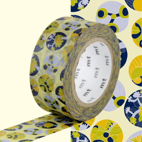 Žluto-modrá washi páska MT Masking Tape Succulent
