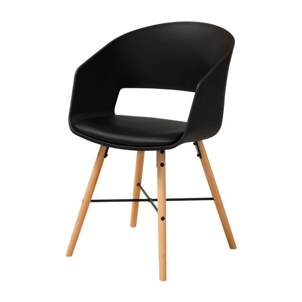 Černá jídelní židle s bukovými nohami Interstil Luna