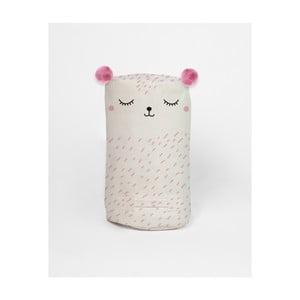 Bílý látkový puf s růžovými detaily Little Nice Things Nighty Night