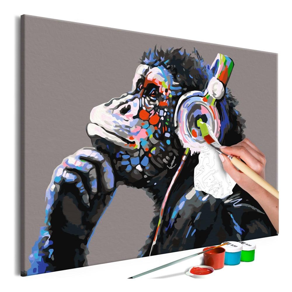 DIY set na tvorbu vlastního obrazu na plátně Artgeist Musical Monkey, 60x40 cm