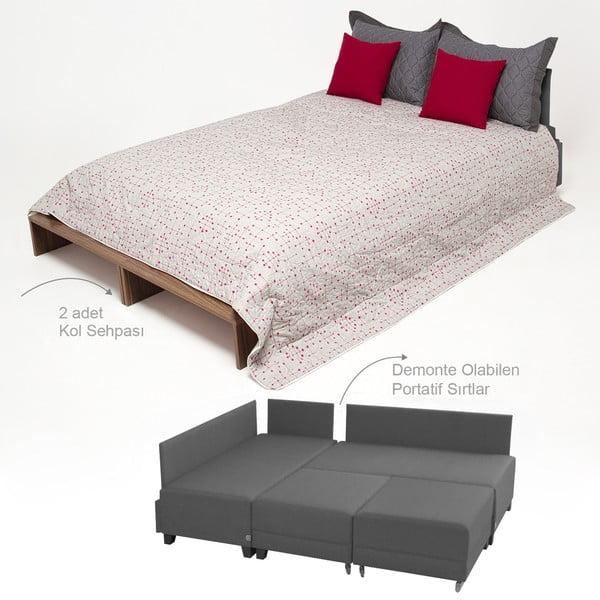 Canapea extensibilă cu 2 blaturi Balcab Home Diana, gri