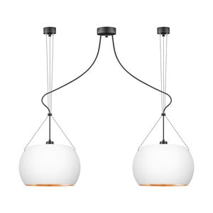 Bílé závěsné svítidlo se 2 svítidly a detaily v měděné barvě Sotto Luce MYOO Elementary