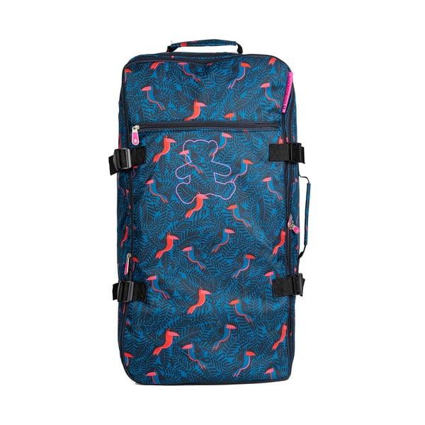 Modrá cestovná taška na kolieskach Lulucastagnette Jungle, 91 l