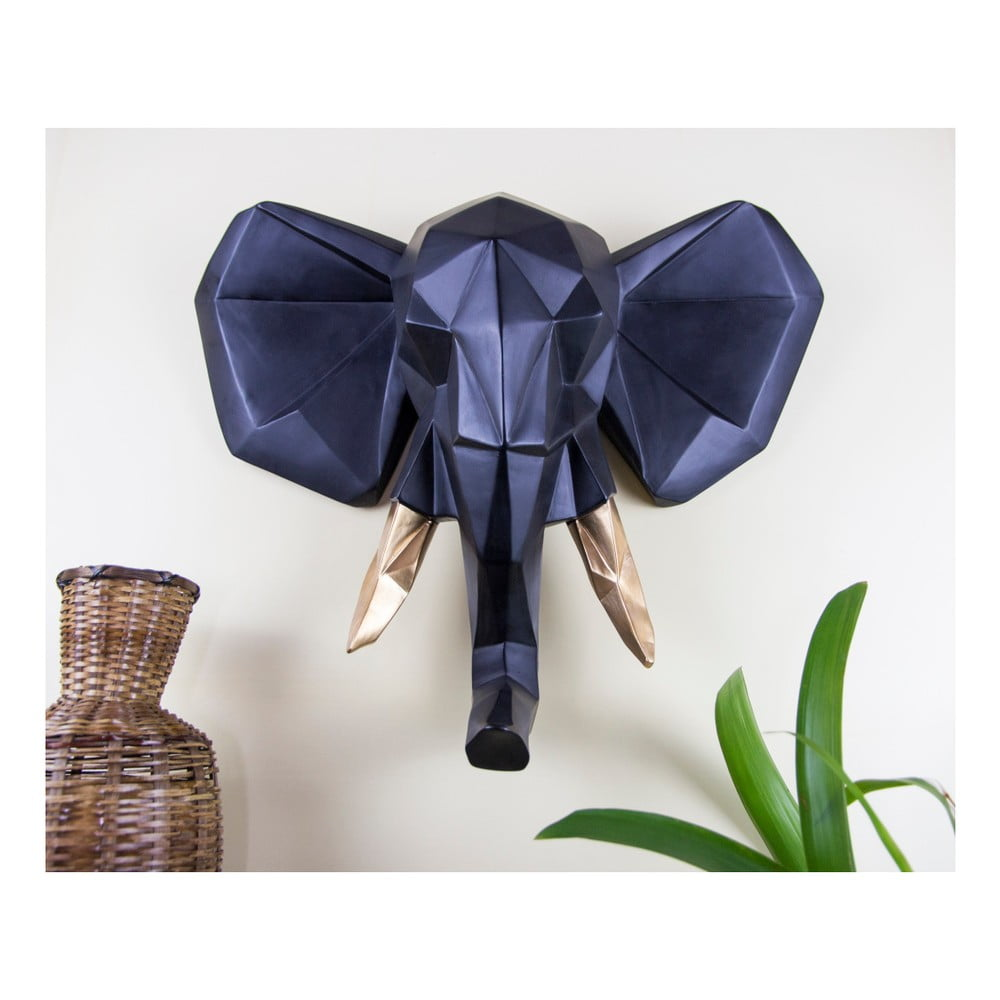 Černá nástěnná dekorace Walplus Geometric Elephant