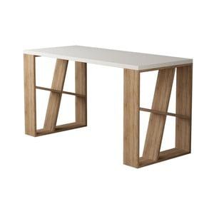 Pracovní stůl s bílou deskou s nohami v dekoru dubového dřeva Honey