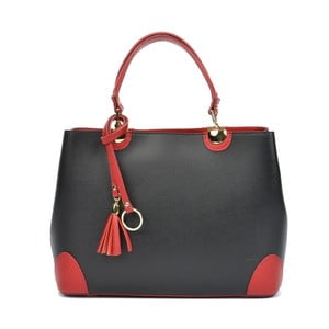 Černá kožená kabelka s červenými detaily Isabella Rhea Mismo