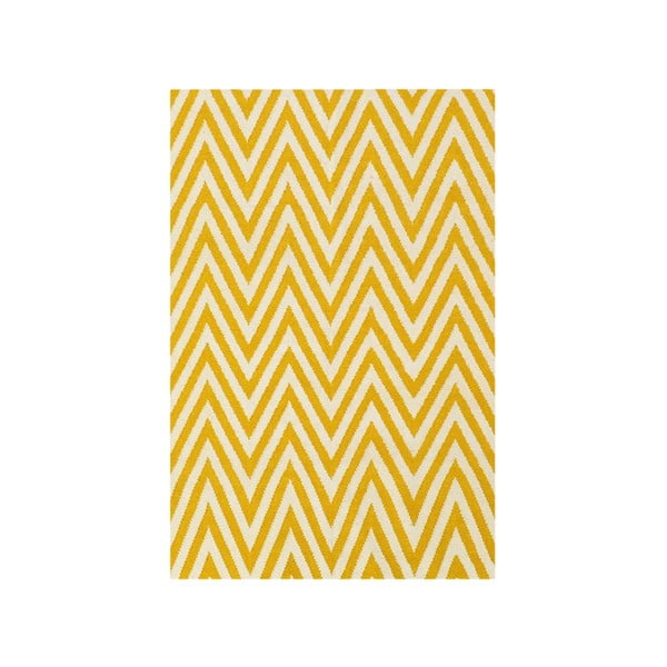 Vlněný koberec Zig Zag Yellow, 180x120 cm