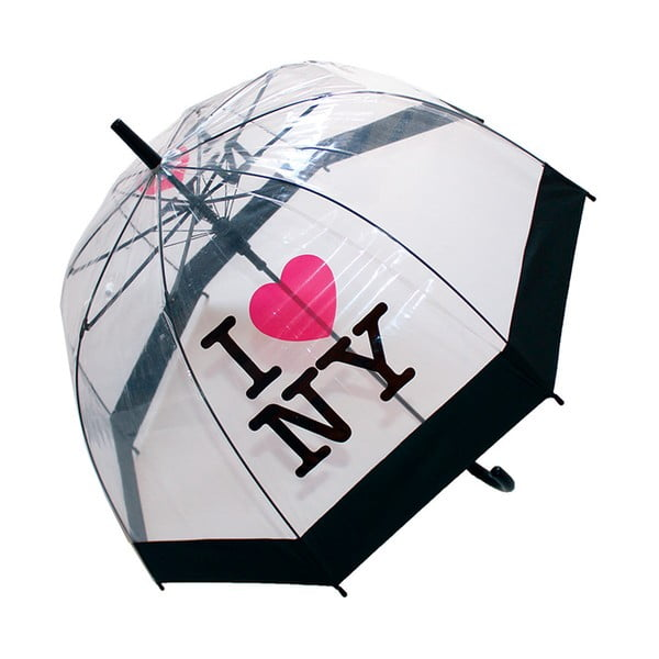 Transparentný tyčový dáždnik odloný proti vetru Ambiance Birdcage I Love NY, ⌀79 cm