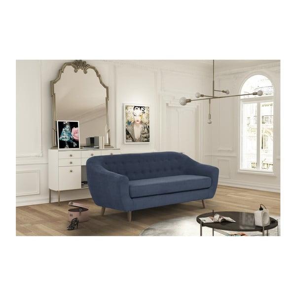 Canapea pentru 3 persoane Jalouse Maison Vicky, albastru denim
