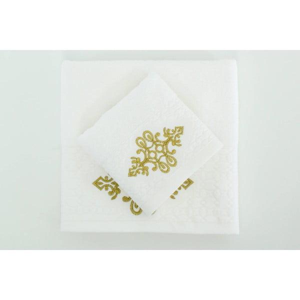 Sada 2 ručníků Isle White Gold, 30x50 cm + 50x90 cm
