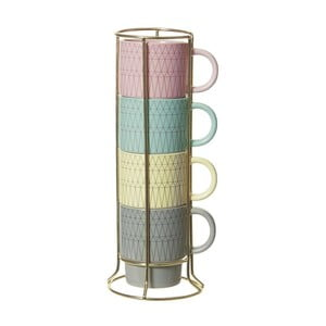 Sada 4 hrnků se stojánkem Cappuccino Coloured