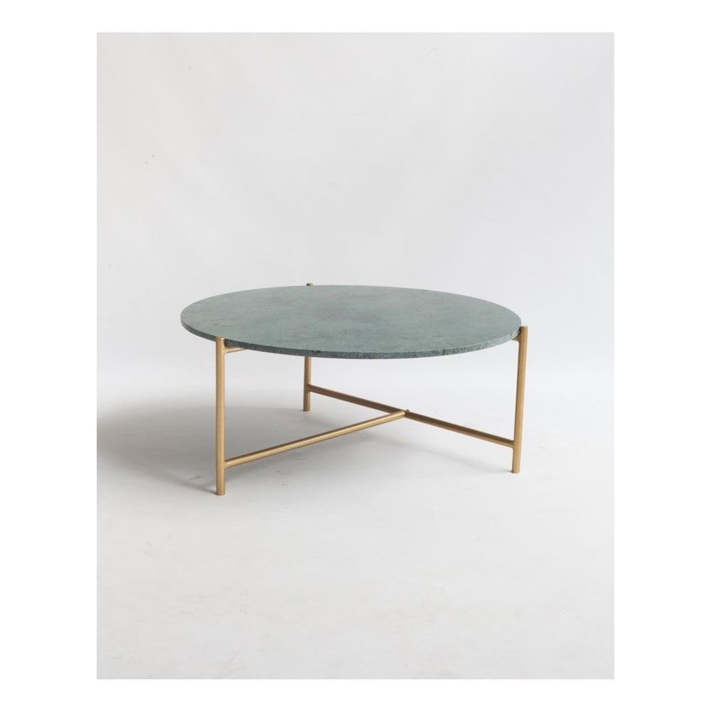 Konferenční stolek se zelenou mramorovou deskou Velvet Atelier, Ø 80 cm
