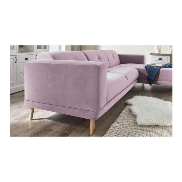Canapea cu șezlong pe partea dreaptă și suport pentru picioare Bobochic Paris Luna, roz