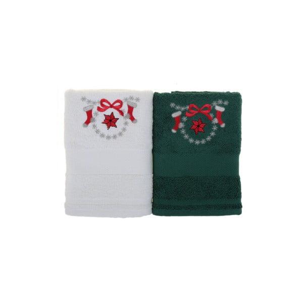 Sada 2 ručníků Copar White&Green, 50x100 cm