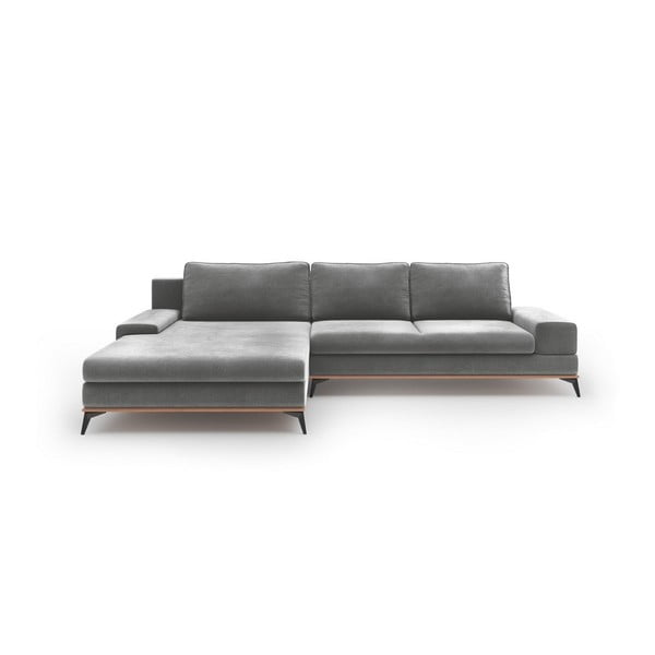 Canapea extensibilă tip colțar cu șezlong pe partea stângă Windsor & Co Sofas Astre, gri