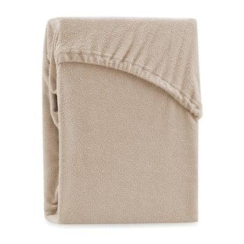 Cearșaf elastic pentru pat dublu AmeliaHome Ruby Dark Beige, 220-240 x 220 cm, bej închis
