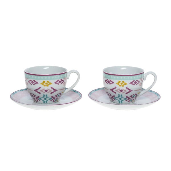 Set porcelánových hrnků a podšálků Romantic, 6 ks (200 ml)