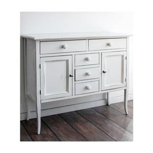 Comodă din lemn cu 2 uși și 5 sertare Castagnetti Eloise, alb