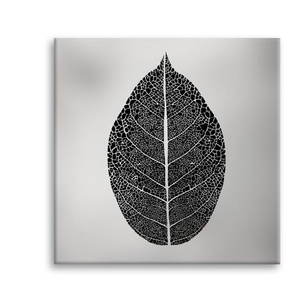 Canvas Silver Uno Black Leaf kép, 65 x 65 cm - Styler