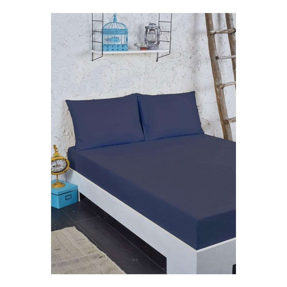Modrý set prostěradla a povlaku na polštář na jednolůžko, 100 x 200 cm