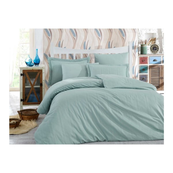 Lenjerie de pat cu cearșaf  Stripe, 200 x 220 cm, verde mentă