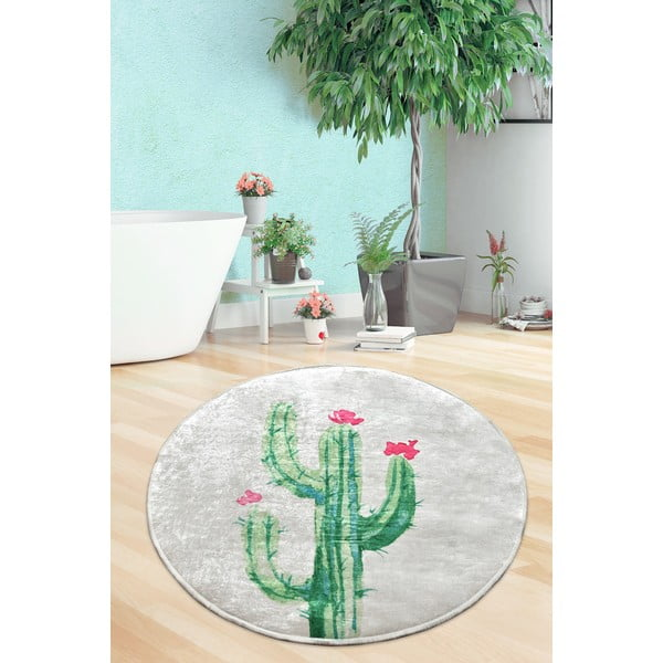 Covor baie Tropica Cactus III, ⌀ 100 cm, alb - verde